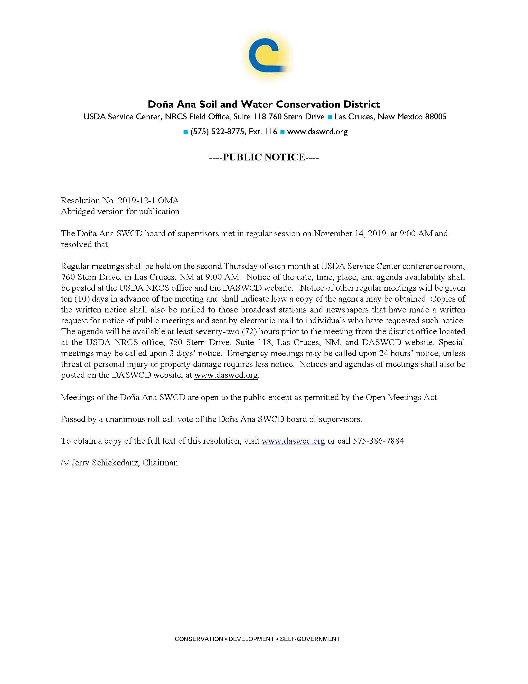 DASWCD Public Notice Open Meetings Act 2020