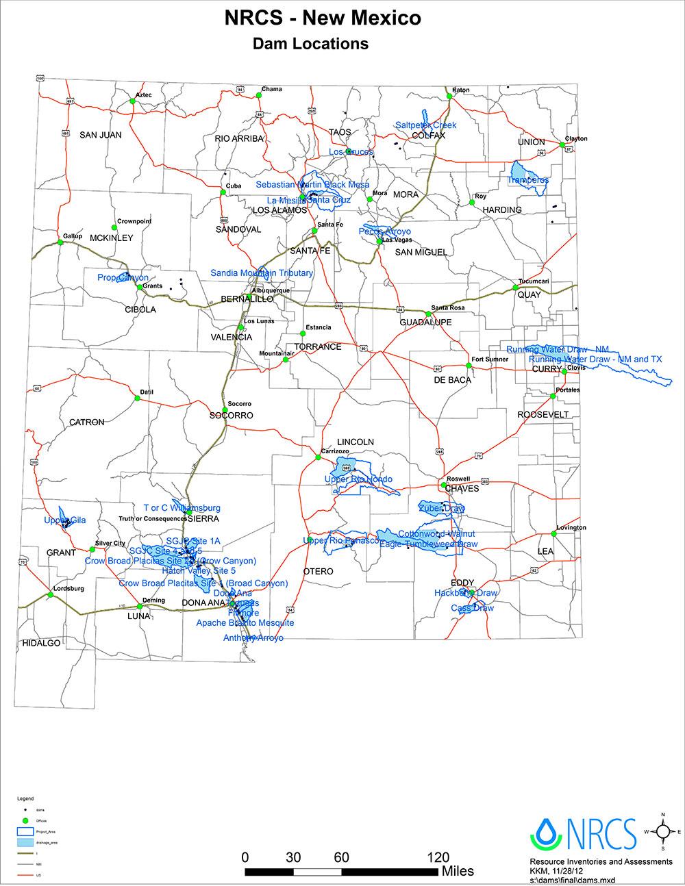 NRCS New Mexico Dam Locations